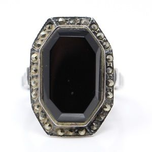Jewelry - ART DECO VINTAGE Sterling Onyx & Marcasite Ring